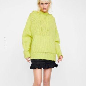 Zara Knit lime green oversized hoodie